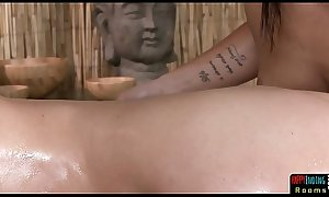 Lesbo babe massaged and seduced by dyke