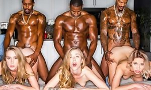 Three stunning blonde ladies servicing muscled black dudes