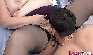 Gran in stockings pounded